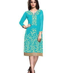 Buy Sky blue georgette embroidered stitched kurti georgette-kurti online