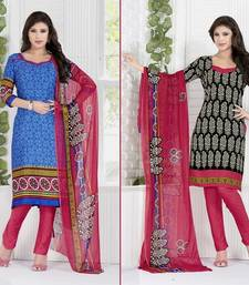 Buy Multicolour printed crepe unstitched salwar with dupatta salwar-combo online