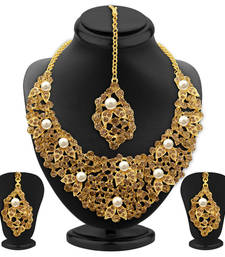 Buy Designer LCT Stone Gold Plated AD Necklace Set For Women necklace-set online