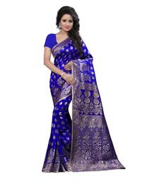 Buy blue embroidered banarasi silk saree With Blouse banarasi-silk-saree online