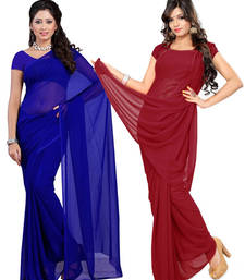 Buy Blue and Maroon plain georgette saree with blouse sarees-combo-sari online