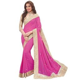 Buy Pink Bollywood Saree With Embroidered Border Work bollywood-saree online