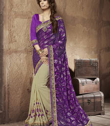 Buy Magenta embroidered brasso saree With Blouse brasso-saree online