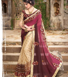 Buy Maroon embroidered lycra saree With Blouse georgette-saree online