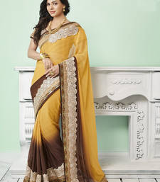 Buy Yellow embroidered jute saree With Blouse jute-saree online