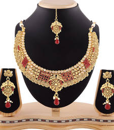Buy Traditional look gold finishing necklace set with maang tikka necklace-set online