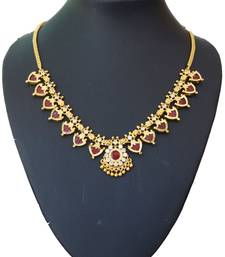 Buy Maroon palakka necklace with fourteen palakka Necklace online