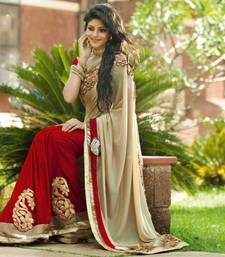 Buy Bollywood Replica Designer Saree red with cream saree B 1 wedding-saree online