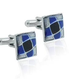 Buy Square blue black enamel checks rhodium plated cufflink for men cufflink online