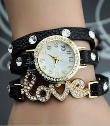 Buy Black leather watches for women gifts-for-girlfriend online