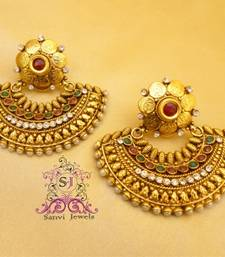 Coin Polki & Zircon Chaand Earrings shop online