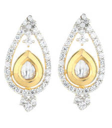 Buy Peace collection fusion kundan and american diamond drop shape stud earrings stud online