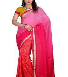Buy shadded pink chiffon georgette designer saree with blouse chiffon-saree online