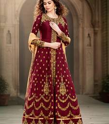 Buy Maroon embroidered cotton_silk semi stitched salwar with dupatta semi-stitched-salwar-suit online