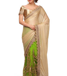 Buy Green embroidered shimmer saree With Blouse shimmer-saree online