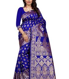 Blue plain Banarasi silk saree With Blouse shop online