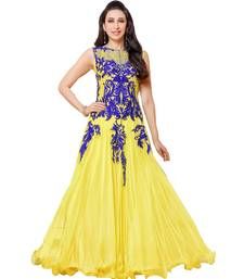 Buy Yellow and blue embroidered net party wear gown party-wear-gown online