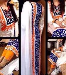 Buy White georgette embroidered unstitched salwar with dupatta party-wear-salwar-kameez online