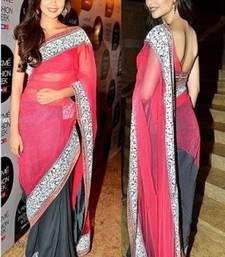 Buy Pink embroidered viscose saree With Blouse deepika-padukone-saree online
