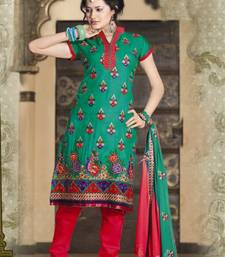 Buy Turquoise Red Cotton Chanderi Pakistani style dress material SC 338 pakistani-salwar-kameez online