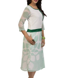 Buy White and Green Georgette printed kurti georgette-kurti online
