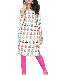 Buy Multicolor printed crepe semi stitched kurti kurtas-and-kurti online