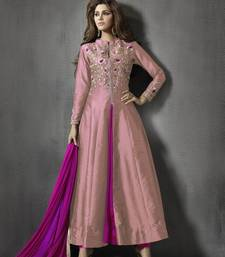 Buy Peach and pink georgette embroidered semi stitiched salwar with dupatta indowestern online