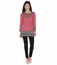 Red american crepe printed stitched kurti shop online