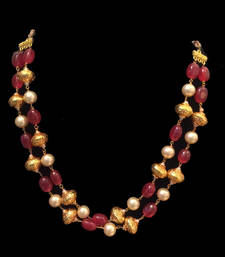 Buy Red stones and pearl gheru necklace Necklace online
