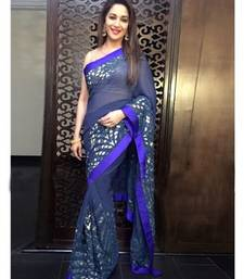 Buy Navy Blue embroidered georgette saree With Blouse madhuri-dixit-saree online