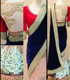 Buy blue embroidered velvet saree With Blouse net-saree online