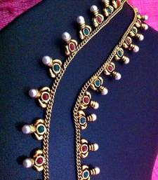 Buy Red green ethnic pearl payal anklet j79rg anklet online