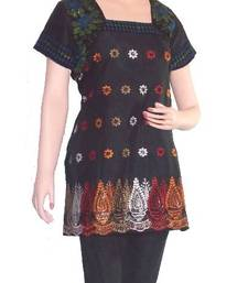 Buy Ethnic Touch - Kurti- Black and with Multicolor embroidery kurtas-and-kurti online