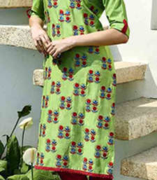 Buy Green cotton silk printed stitched kurti cotton-kurti online