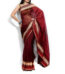 Banarasi supernet Cotton Border Saree shop online
