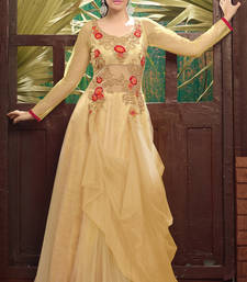 Buy Beige soft net embroidered party wear gowns party-wear-gown online