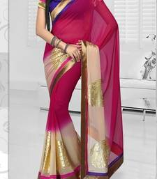 Buy Hypnotex Chiffon Pink Saree Risk 1705A party-wear-saree online