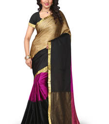 Buy multicolor plain cotton poly saree With Blouse ethnic-saree online