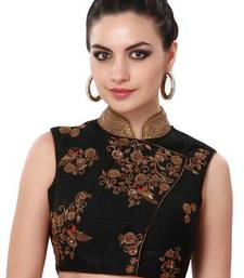 Buy Black silk embroidered unstitched blouse blouse-fabric online