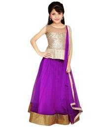Buy purple jacquard kids lehenga choli kids-lehenga-choli online