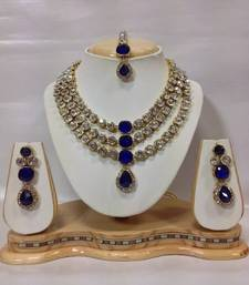 Buy Famous Kundan Jewelry Set in Royal Blue necklace-set online