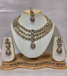 Buy Famous Kundan Jewelry Set in White necklace-set online