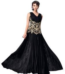 Buy Black net embroidered semi stitched party wear gown party-wear-gown online