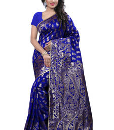 Buy Blue printed banarasi_silk saree With Blouse banarasi-silk-saree online