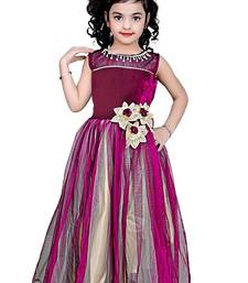 Buy Rani color net and viscose fabric designer party wear frock kids-frock online