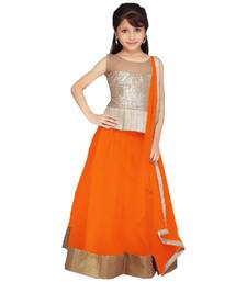 Buy Orange color soft net designer kids lehenga choli kids-lehenga-choli online