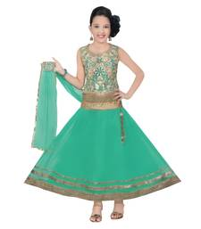 Buy Aqua green color soft net designer kids lehenga choli kids-lehenga-choli online
