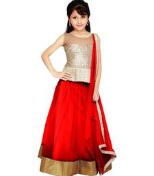 Buy Red color soft net designer kids lehenga choli kids-lehenga-choli online