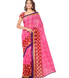 Pink printed georgette saree With Blouse shop online