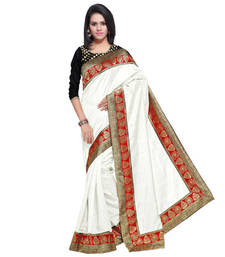 Buy White hand woven banarasi silk saree with blouse banarasi-silk-saree online